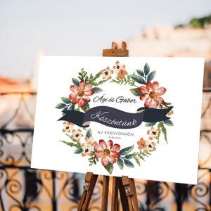 Köszöntő tábla esküvőre